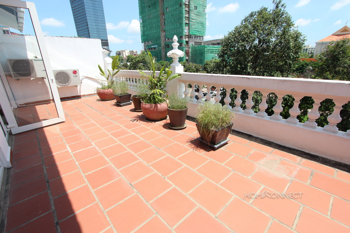 French Colonial 3 Bedroom Apartment For Rent Near Wat Phnom | Phnom Penh Real Estate