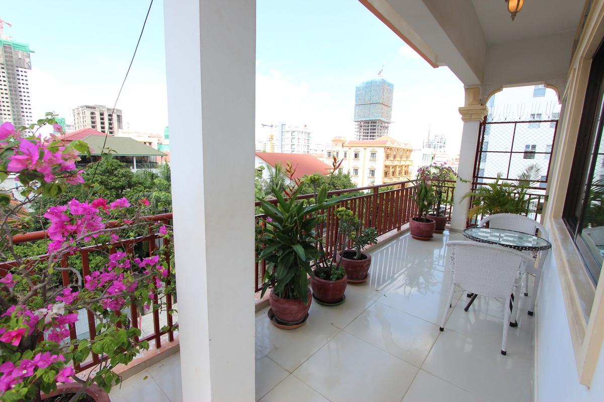 Big Balcony 2 Bedroom Apartment For Rent in BKK1 | Phnom Penh Real Estate