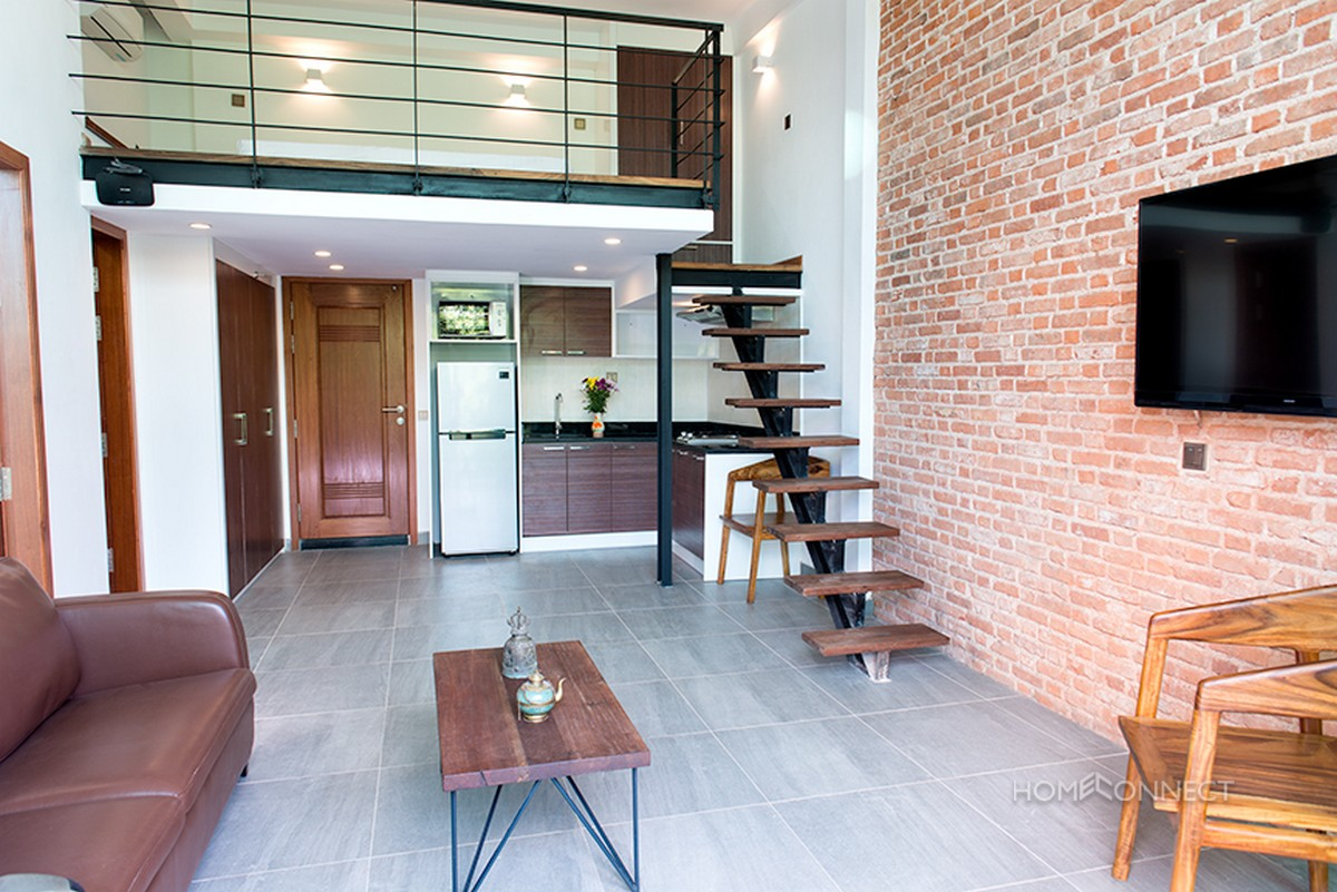 Modern 2 bedroom 1 bathroom loft apartment near wat phnom phnom penh apartments villas for Apartment 1 bedroom 1 bathroom