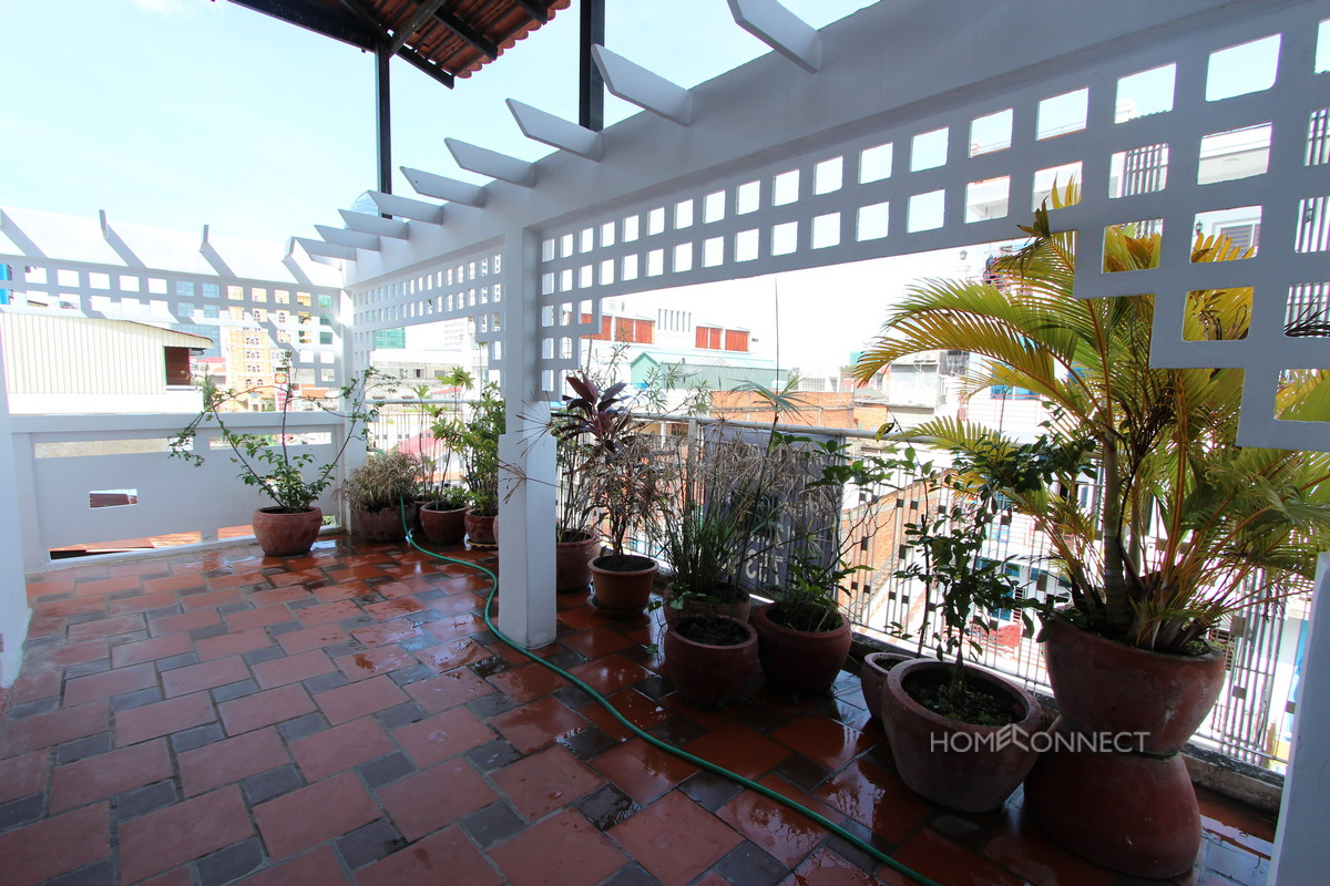 Private Rooftop Two Bedroom Apartment For Rent Near Riverside | Phnom Penh Real Estate